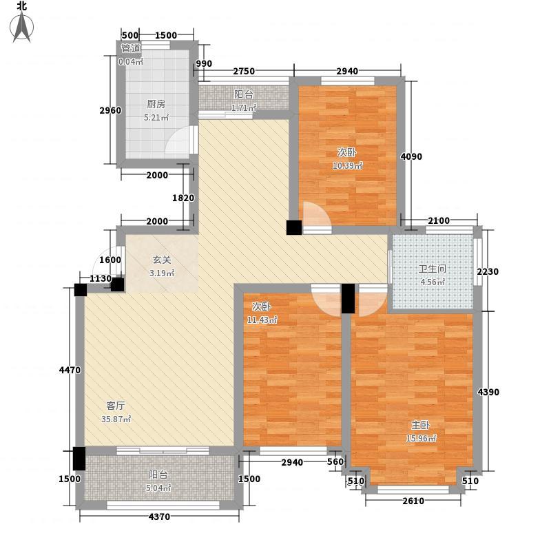 东昌玉龙公馆户型图C2户型 3室2厅1卫1厨