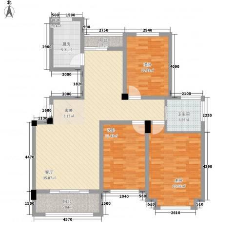 东昌玉龙公馆3室1厅1卫1厨117.00㎡户型图