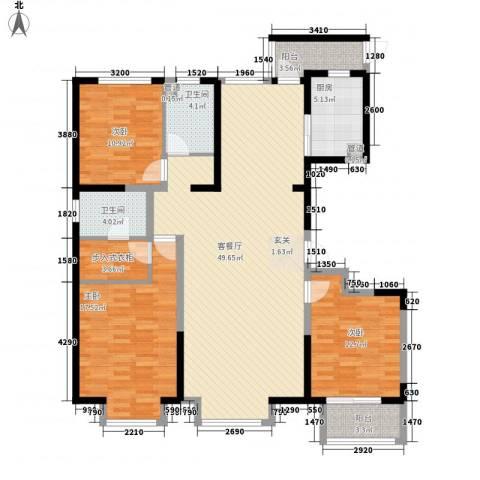 瀚海商务3室1厅2卫1厨166.00㎡户型图