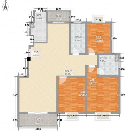 宝岛花园(二期)3室1厅2卫1厨180.00㎡户型图