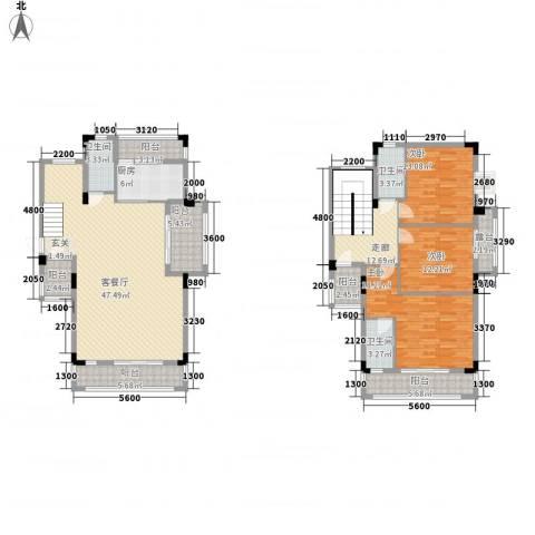 水岸豪庭3室1厅3卫1厨156.00㎡户型图