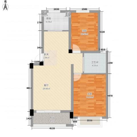 东昌玉龙公馆2室1厅1卫1厨67.38㎡户型图