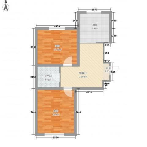 新华壹品2室1厅1卫1厨72.00㎡户型图