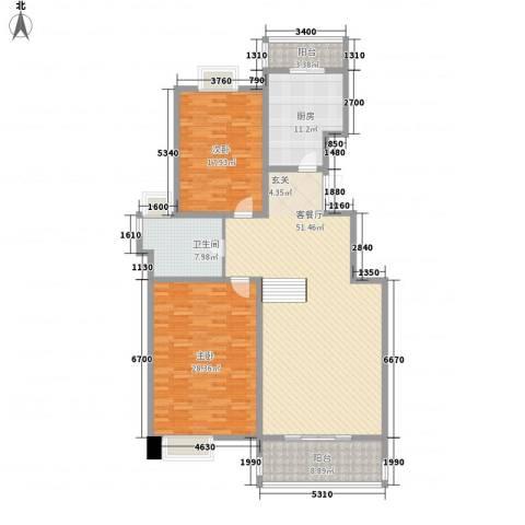 宝岛花园(二期)2室1厅1卫1厨180.00㎡户型图