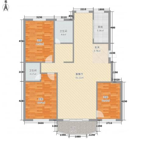 蓓佛莉庄园3室1厅2卫1厨150.00㎡户型图