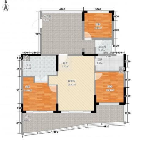 申亚・亚龙湾壹号3室1厅2卫1厨163.00㎡户型图