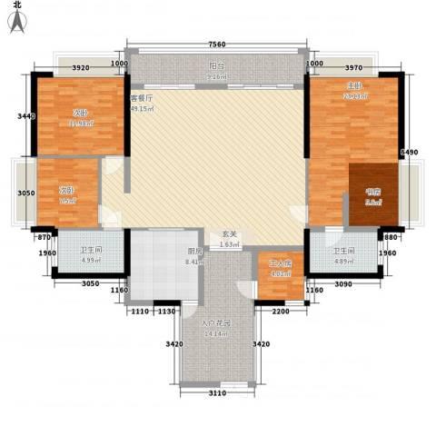 翠云花园3室1厅2卫1厨137.37㎡户型图