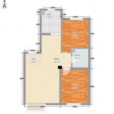 其仕・郡2室1厅1卫1厨88.00㎡户型图