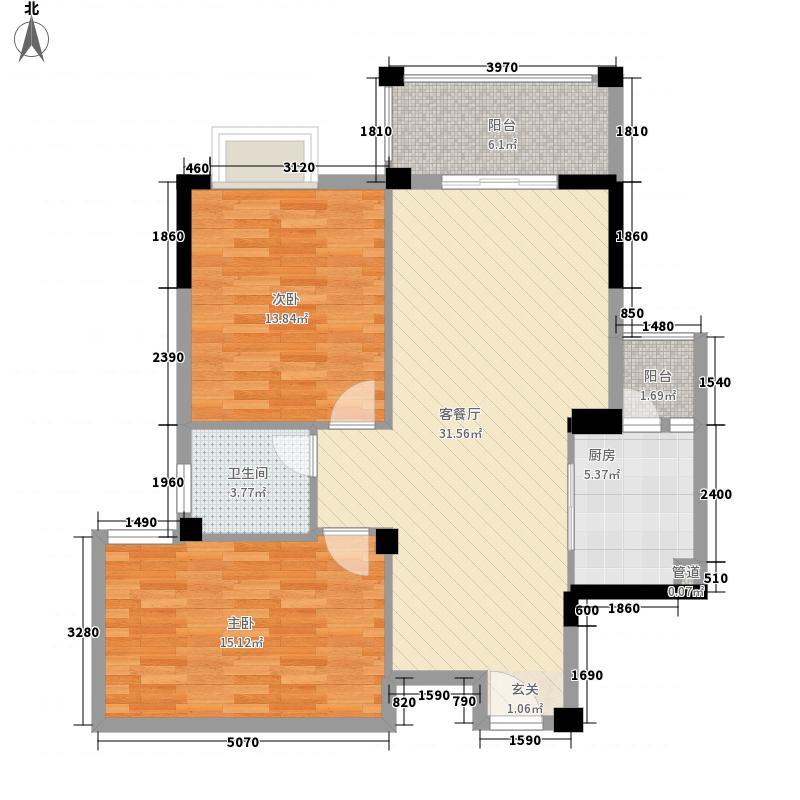 平湖半岛5.85㎡3号楼C4户型2室2厅1卫1厨