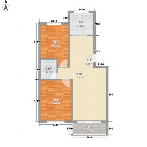 蓓佛莉庄园2室1厅1卫1厨89.00㎡户型图