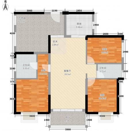 塘厦中信凯旋城3室1厅2卫1厨143.00㎡户型图