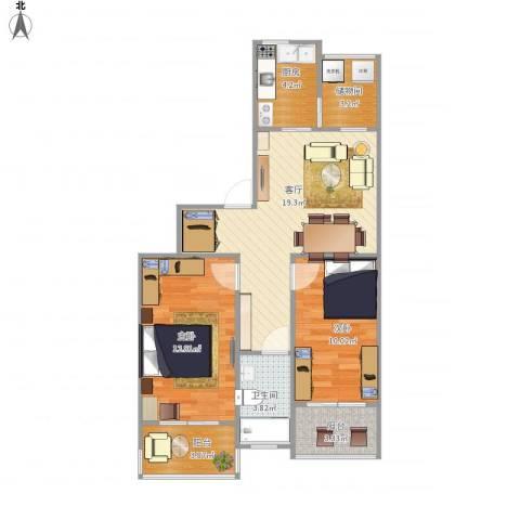 安华里2室1厅1卫1厨79.00㎡户型图