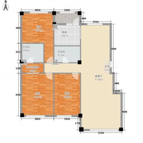 米兰D.C3室1厅2卫1厨169.00㎡户型图