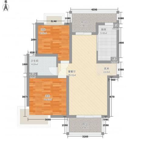 新苑花园2室1厅1卫1厨95.00㎡户型图