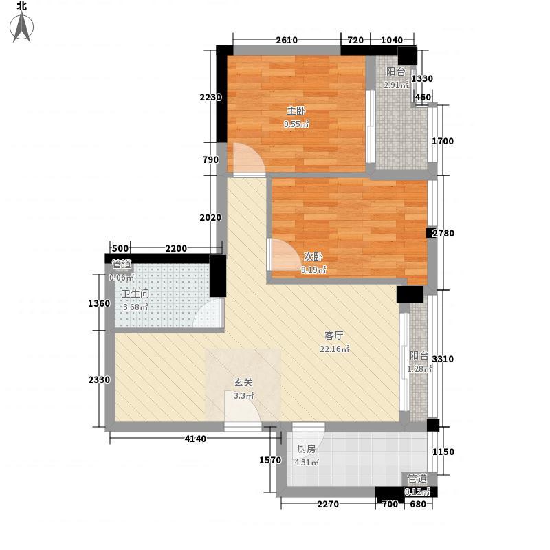 阳光新界58.00㎡阳光新界2室户型2室