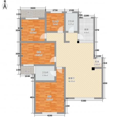新世纪安居苑3室1厅2卫1厨172.00㎡户型图