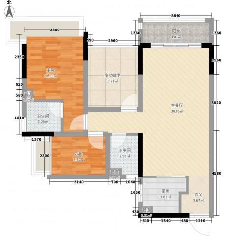 万科金色溪谷花园2室1厅2卫1厨89.00㎡户型图