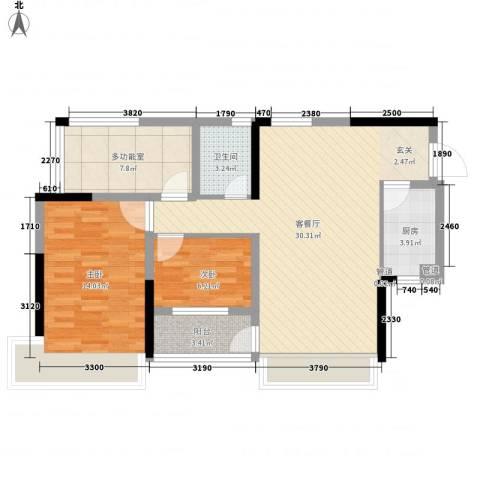万科金色溪谷花园2室1厅1卫1厨87.00㎡户型图