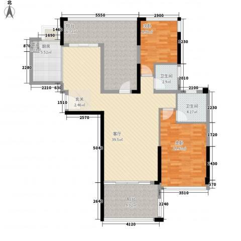 明大汇乐园2室1厅2卫1厨147.00㎡户型图