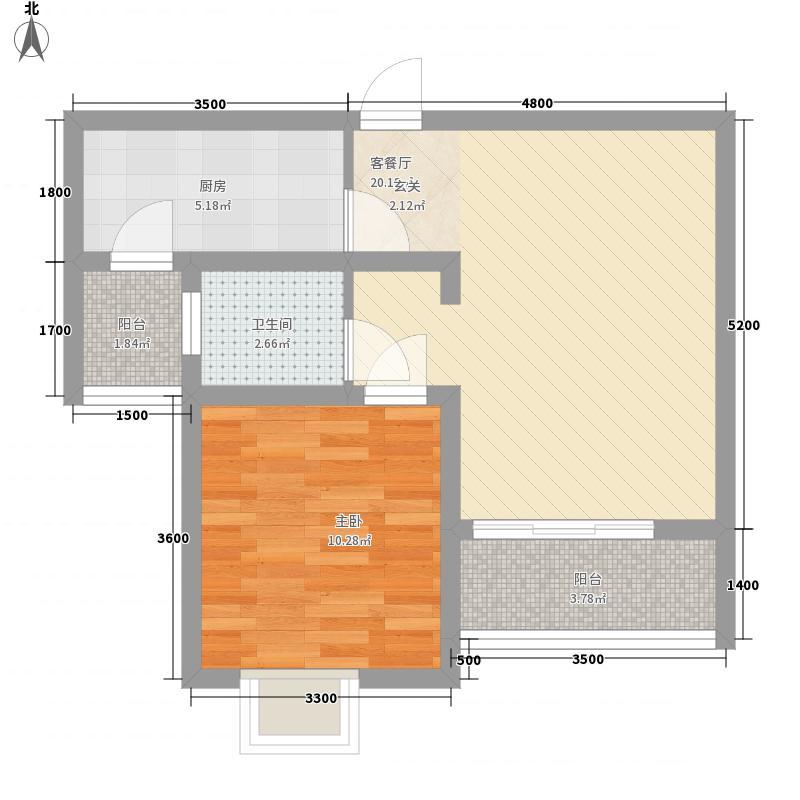 鲁银城市印象一居室22户型1室1厅1卫1厨