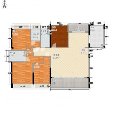 合正上东国际三期4室1厅3卫1厨159.00㎡户型图