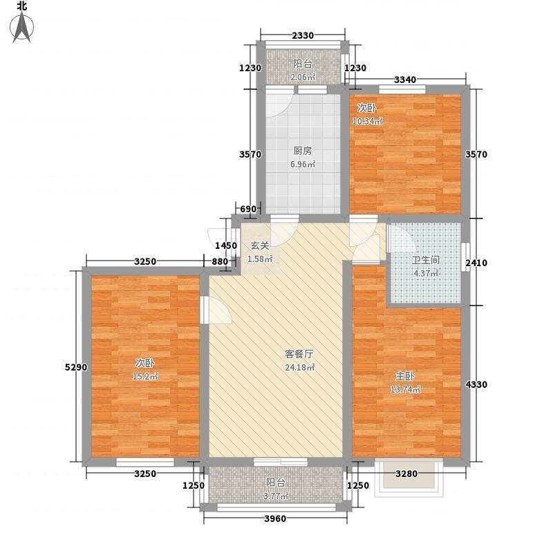 新丰世纪户型图4-F户型 3室2厅1卫1厨