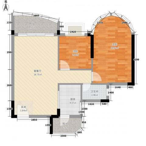 碧水湾2室1厅1卫1厨73.13㎡户型图