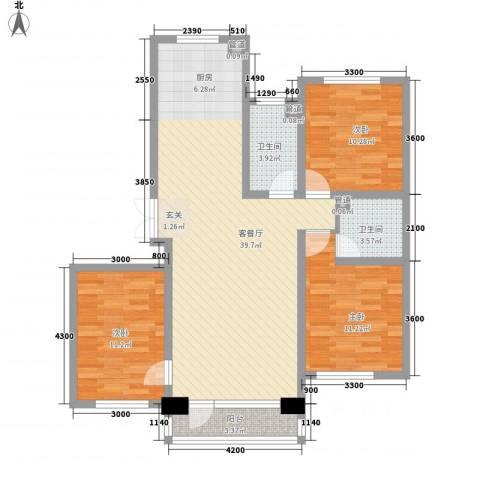 鑫港上上城3室1厅2卫0厨117.00㎡户型图
