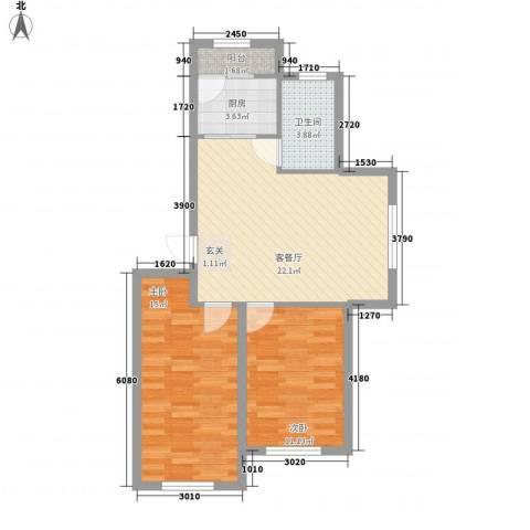 轩泽硅谷壹号2室1厅1卫1厨81.00㎡户型图