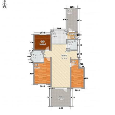 听雨观澜3室1厅2卫1厨131.00㎡户型图