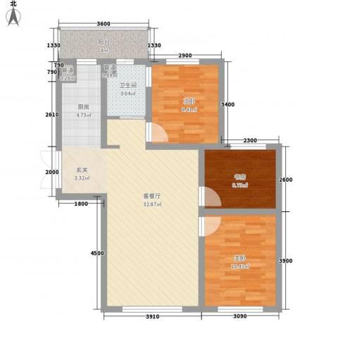 鑫港上上城3室1厅1卫0厨99.00㎡户型图