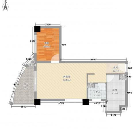 康鹏大厦1室1厅1卫1厨50.91㎡户型图