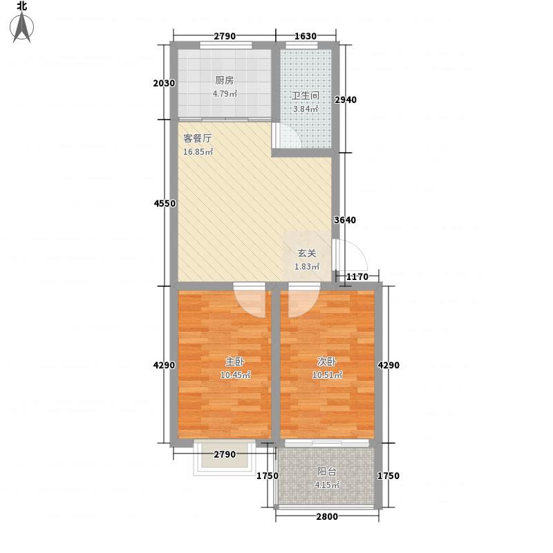山水佳园72.00㎡户型2室1厅1卫1厨