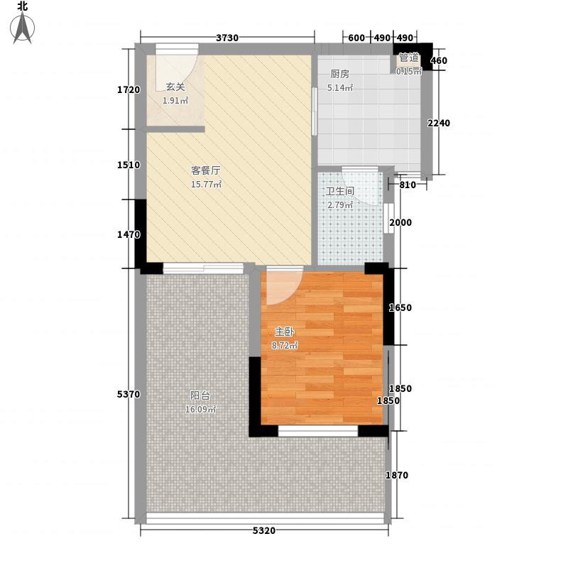 溪山御景51.62㎡S1g户型1室1厅1卫1厨