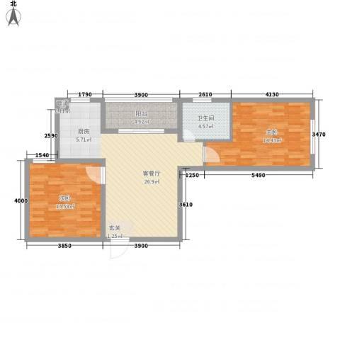 书香国际公寓2室1厅1卫0厨92.00㎡户型图
