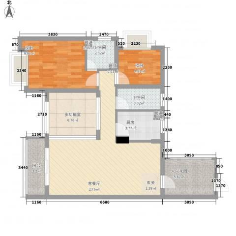 �海2室1厅2卫1厨97.00㎡户型图