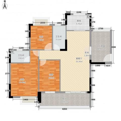 幸福湾3室1厅2卫1厨126.00㎡户型图