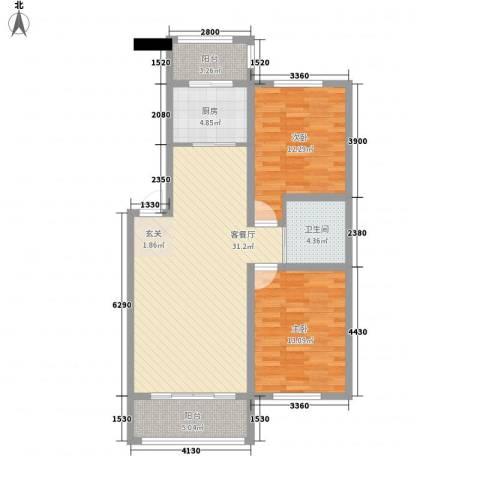 上东街区2室1厅1卫1厨100.00㎡户型图