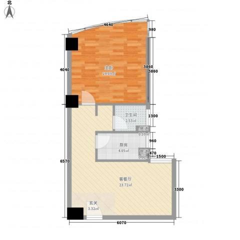 康鹏大厦1室1厅1卫1厨49.52㎡户型图