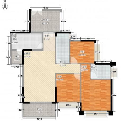 聚豪华庭3室1厅2卫1厨192.00㎡户型图
