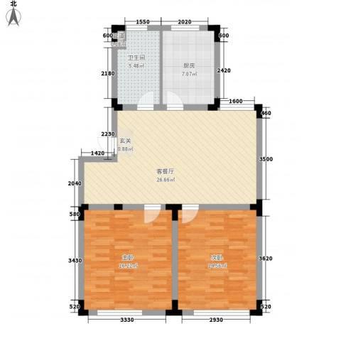 上林雅苑2室1厅1卫1厨99.00㎡户型图