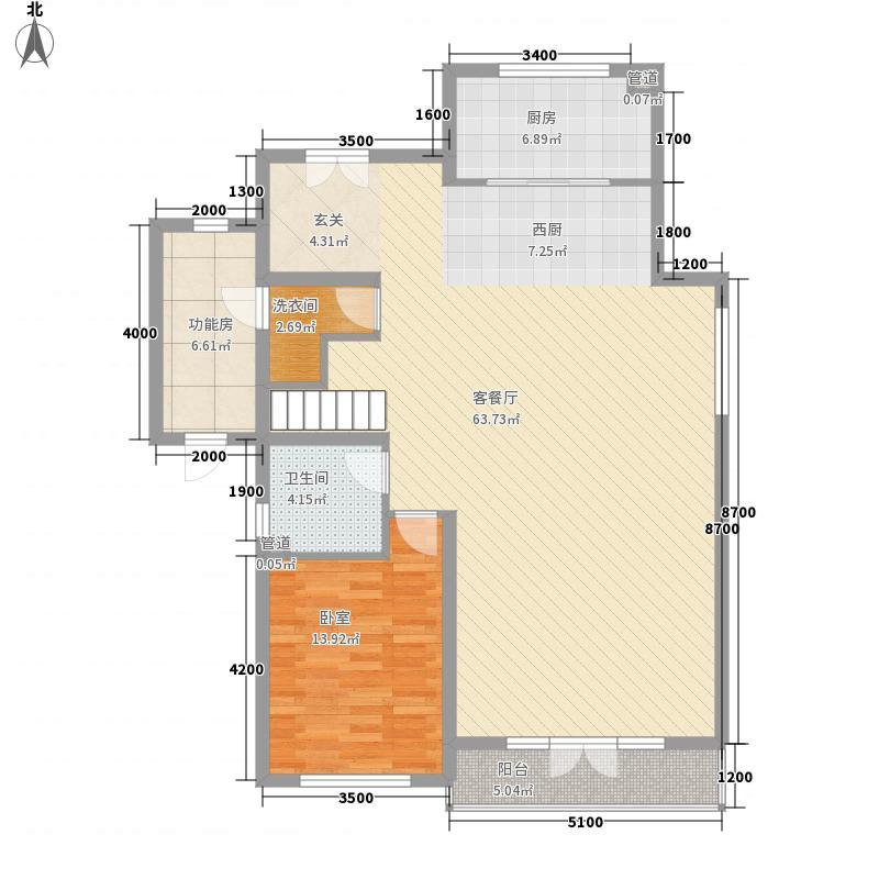 国瑞生态城北入户E2首层户型1室2厅1卫1厨