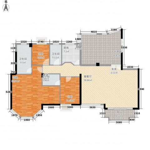 联发新天地3室1厅3卫1厨237.00㎡户型图