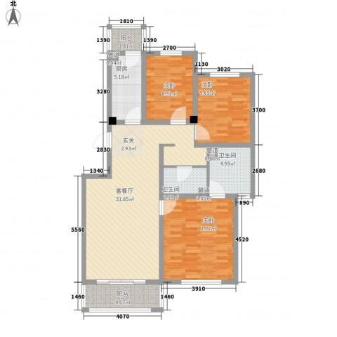 上奥世纪中心3室1厅2卫1厨124.00㎡户型图