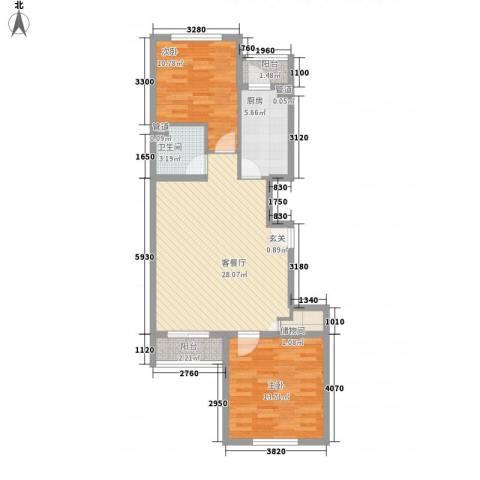 上奥世纪中心2室1厅1卫1厨95.00㎡户型图