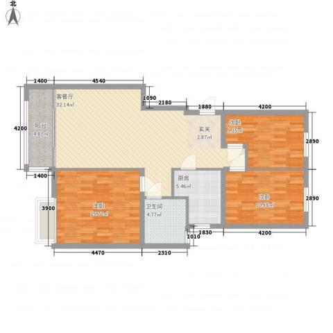 开元花半里3室1厅1卫1厨82.95㎡户型图
