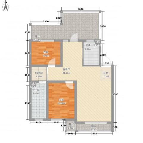 咖啡小镇2室1厅1卫1厨88.00㎡户型图