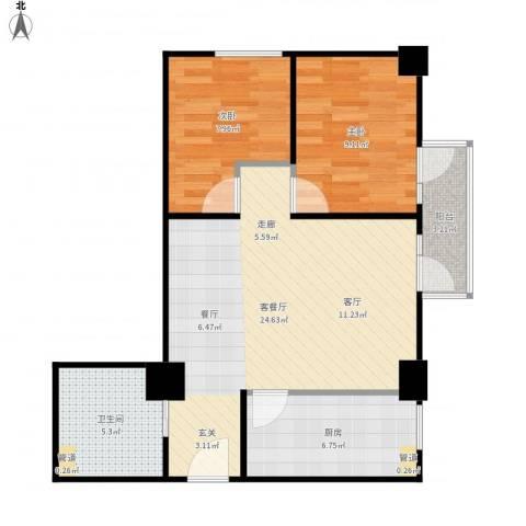 新世纪广场2室1厅1卫1厨79.00㎡户型图