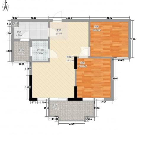 一江名城2室1厅1卫1厨58.78㎡户型图