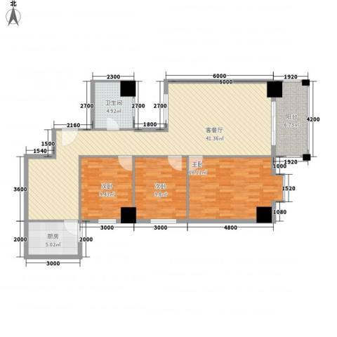 南方星座3室1厅1卫1厨132.00㎡户型图